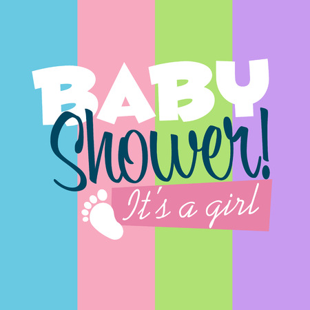 Baby girl shower greeting card Illustration