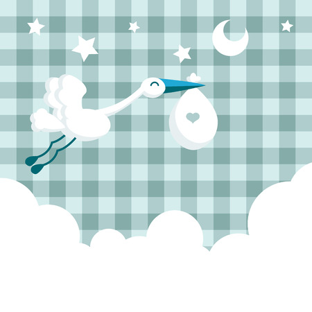 Baby boy shower invitation card with stork 向量圖像