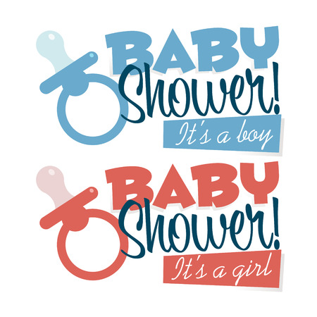 pacifiers: Baby shower emblems with pacifiers for invitation cards Illustration
