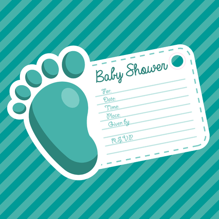 baby foot: Baby boy shower invitation greeting card with baby foot