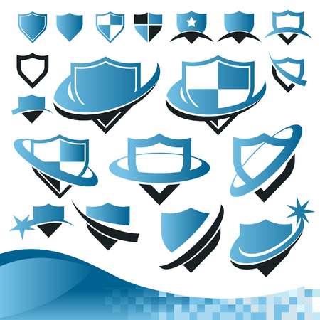 Collection of security protection shield icons Иллюстрация
