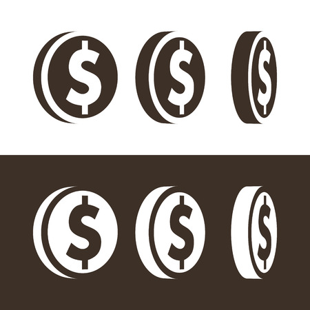 Silhouette of dollar coin icons