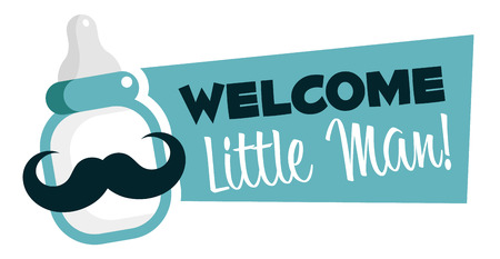 welcome baby: Baby shower emblem with mustache baby bottle