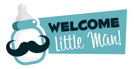 niemowlaki: Baby shower emblemat z wąsami butelki dla niemowląt Ilustracja