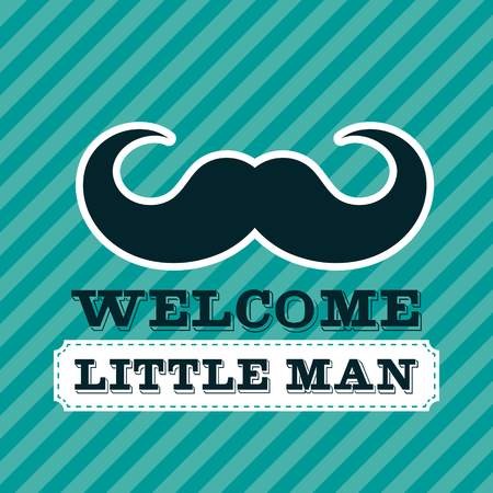 little man: Blue baby shower greeting card with mustache Illustration