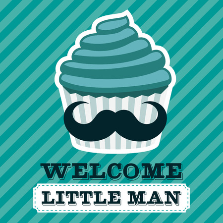little man: Baby shower greeting card with cupcake mustache
