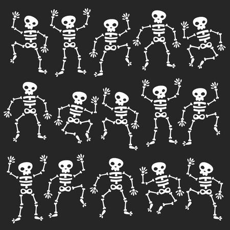esqueleto: Conjunto de esqueletos bailando aislado en negro Vectores