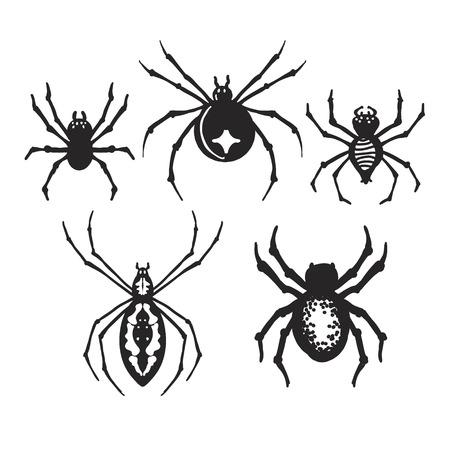 Set of decorative Halloween spiders