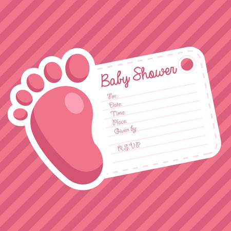 baby girl: Baby girl shower invitation greeting card with baby foot Illustration
