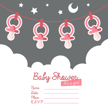 Baby shower invitation greeting card with pacifiers Illustration