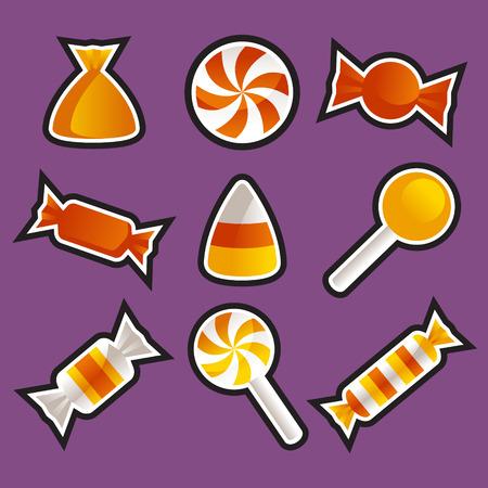 candy corn: Set of various Halloween candy