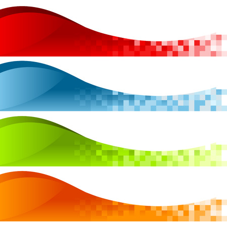 Set of colorful pixel swoosh banners Illustration