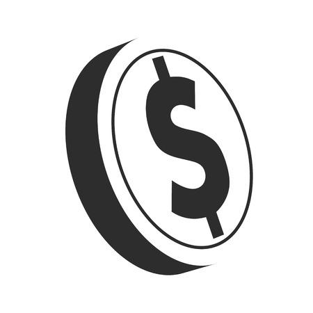 Dollar coin logo icon isolated on white Çizim