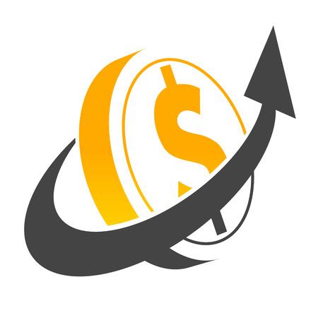 Dollar coin symbol with swoosh arrow Vettoriali