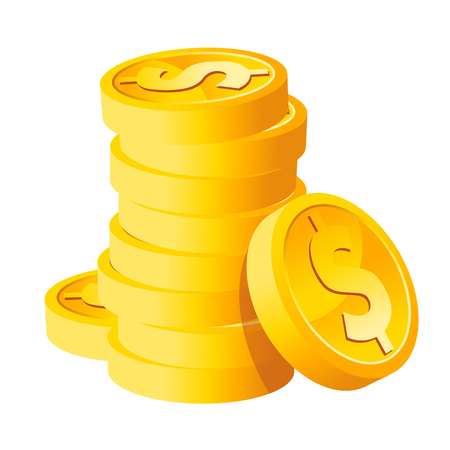 coins stack: Stack Dollar Gold Coins