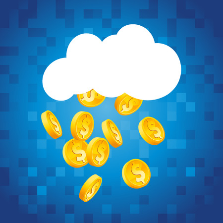 raining: Cloud raining gold dollar coins