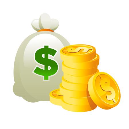 gold: Bag and Dollar Gold Coins Illustration