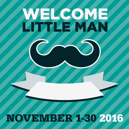 Blue baby shower greeting invitation card with mustache Illustration