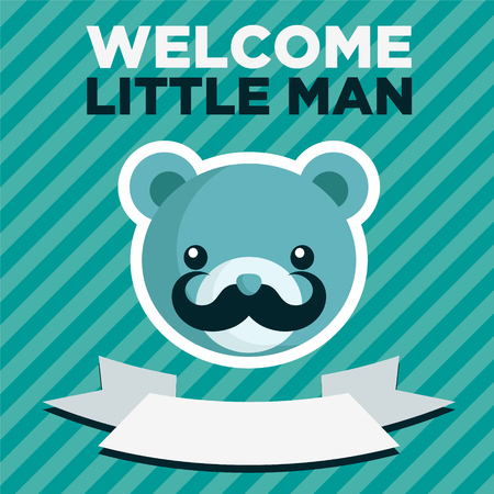 baby bear: Blue baby shower greeting card with bear and mustache