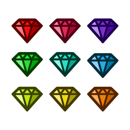 Set of colorful diamond icons
