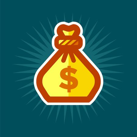 Gold Bag of Money Icon.