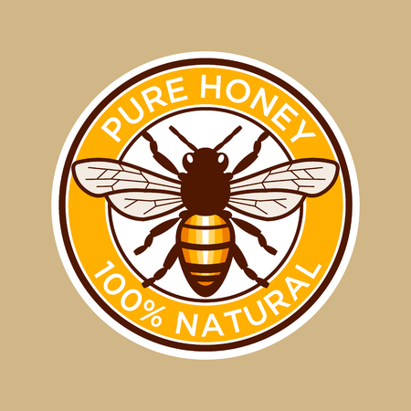 Pure Honey Bee Label Illustration