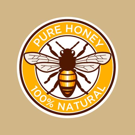 純粋な蜂蜜の蜂のラベル  イラスト・ベクター素材