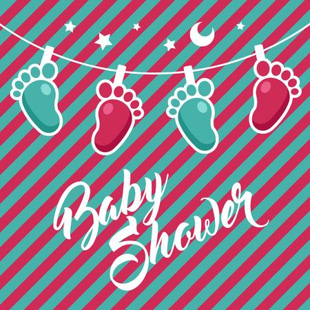 Baby douche wenskaart ontwerp. Stock Illustratie