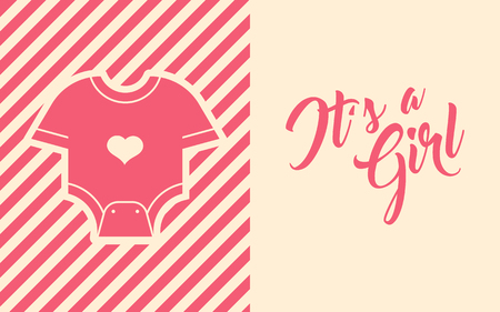 Pink Baby Shower Greeting card design.