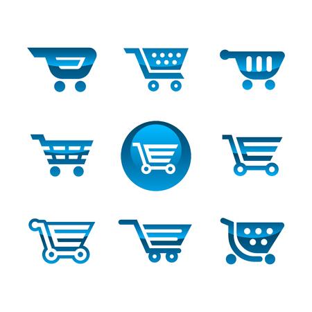 Set of blue shiny shopping cart icons Illustration