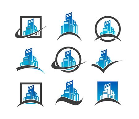 Modern Building Logo Icons Ilustração