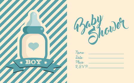 Boy Baby Shower Invite Greeting card. Illustration
