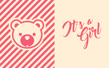 Pink baby girl shower invite greeting card with bear design.