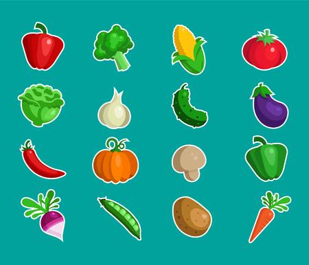 Set of fresh vegetable icons Çizim