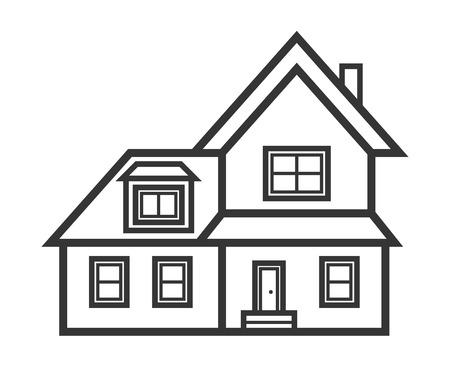Suburban Real Estate House Icon