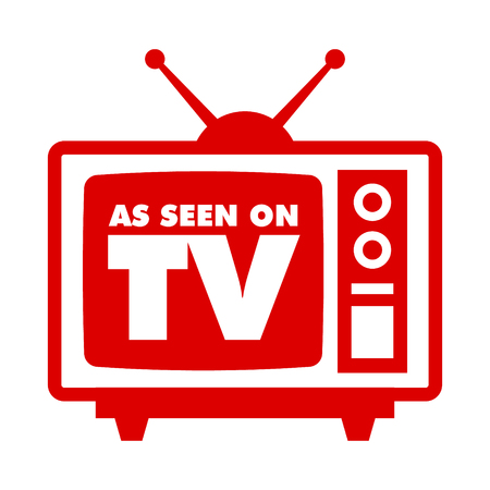 Comme on le voit à la télé avec une icône de télévision rétro Vecteurs