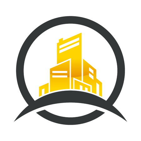 condominium: Gold real estate and construction building icon