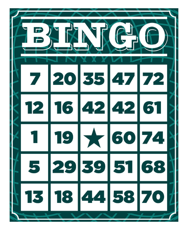 Retro vintage bingo game card template Çizim