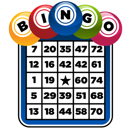 Illustration of bingo game card and balls