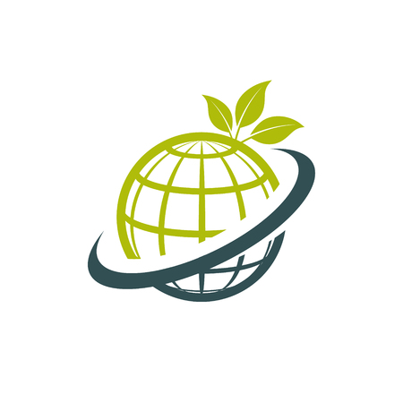 Green ecological symbol with globe and leaf icon.