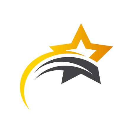 Gold Star Swoosh Logo Icon Vectores