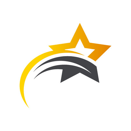 Gold Star Swoosh Logo Icon Иллюстрация