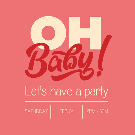 Oh Baby Shower Invitation Greeting Card 向量圖像