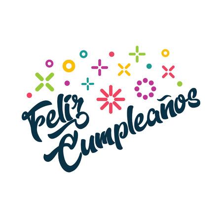 Feliz Cumpleanos - Spanish Happy Birthday Greeting Invitation Card Illustration