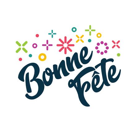 Bonne Fete - französische alles Gute zum Geburtstaggruß-Einladungs-Karte Vektorgrafik