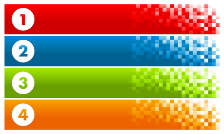 Set of Colorful Pixel Banners  イラスト・ベクター素材