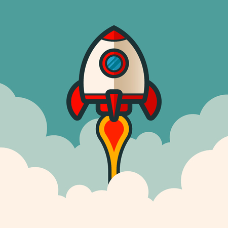 Retro rocket space ship on blue background with clouds. 向量圖像