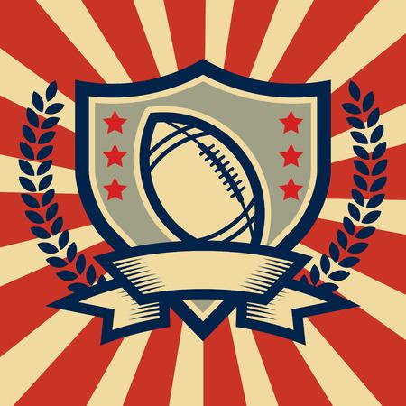 Retro American football sport emblem Illustration