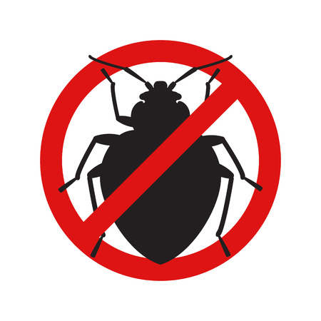 Anti no bedbug insect symbol illustration
