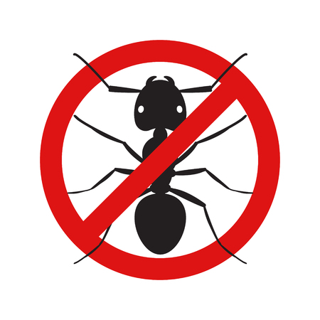Anti no ant insect symbol illustration